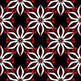 Bloemen naadloos patroon Zwarte rode en witte achtergrond voor behang, textiel en stoffen stock illustratie