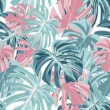 Bloemen naadloos tropisch patroon met bladeren vector illustratie
