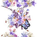 Bloemen naadloos vectorpatroon met bloemen in waterverfstijl vector illustratie