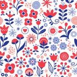 Bloemen naadloos vectorpatroon - overhandig getrokken uitstekende Skandinavische stijl textielontwerp met rode en marineblauwe bl stock illustratie