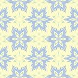 Bloemen naadloze achtergrond Blauw en groen bloempatroon op beige achtergrond royalty-vrije illustratie