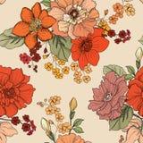 Bloemen naadloze achtergrond Het patroon van de bloem Bloei behang Stock Foto's
