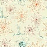 Bloemen naadloze achtergrond in retro kleuren Stock Afbeelding
