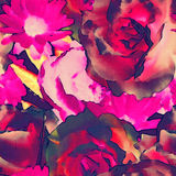 Bloemen naadloze geklets van de kunst het uitstekende zwart-wit gekleurde waterverf Royalty-vrije Stock Foto's