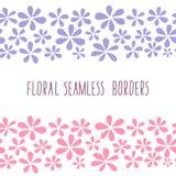 Bloemen naadloze grenzen, blauwe en roze bloemen stock illustratie