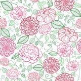 Bloemen naadloze het patroonachtergrond van de lijnkunst Royalty-vrije Stock Afbeelding
