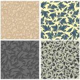 4 bloemen naadloze patronen Royalty-vrije Stock Afbeeldingen