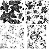 4 bloemen naadloze patronen Stock Afbeelding
