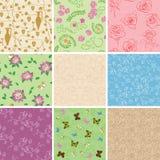 Bloemen naadloze patronen met bloemen - vectorachtergronden stock illustratie