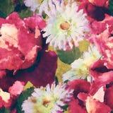 Bloemen naadloze patroon van de kunst het uitstekende waterverf met roze purple Stock Afbeelding