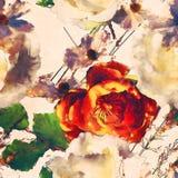 Bloemen naadloze patroon van de kunst het uitstekende waterverf met wit en of Royalty-vrije Stock Afbeelding