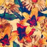 Bloemen naadloze patroon van de kunst het uitstekende waterverf met wit, goud royalty-vrije illustratie