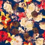 Bloemen naadloze patroon van de kunst het uitstekende waterverf met wit, goud Royalty-vrije Stock Afbeelding