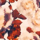 Bloemen naadloze patroon van de kunst het uitstekende zwart-wit waterverf met w Stock Foto