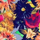 Bloemen naadloze patroon van de kunst het wijnoogst gekleurde waterverf met goud royalty-vrije illustratie