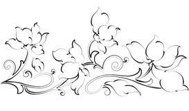 Bloemen ontwerp element-bloemengrens Stock Afbeelding