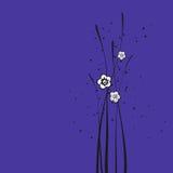 Bloemen op blauw Royalty-vrije Stock Afbeeldingen