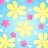 Bloemen op blauwe achtergrond Royalty-vrije Stock Foto's