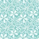 Bloemen op Blauwe Naadloze Achtergrond Stock Fotografie