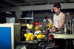 Bloemen op de productie van machines bij factory5 Stock Foto