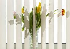 Bloemen op de vensterbank Stock Foto