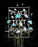 Bloemen op Donker Achtergrondafficheontwerp stock illustratie