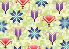 Bloemen op een achtergrond in pixel Royalty-vrije Stock Afbeeldingen