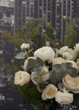 Bloemen op een achtergrond van het stedelijke landschap Royalty-vrije Stock Foto