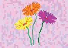 Bloemen op een achtergrondpixel Stock Afbeelding