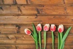 Bloemen op een houten textuur als achtergrond Stock Afbeelding