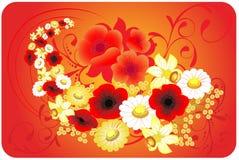 Bloemen op een rode achtergrond Vector Illustratie