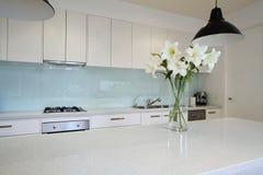 Bloemen op eigentijdse keukenbank Stock Foto's