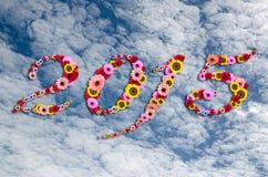 2015 bloemen op feestelijk op Achtergrond van de schoonheids de vreedzame hemel Stock Foto