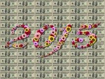2015 bloemen op feestelijk op de Achtergrond van Honderd Dollarsbankbiljetten Royalty-vrije Stock Afbeeldingen