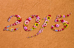 2015 bloemen op feestelijk op Fragment van moderne ruwe gipspleister Backg Stock Foto's