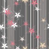 Bloemen op gestreept naadloos patroon als achtergrond Royalty-vrije Stock Foto