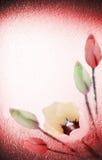 Bloemen op geweven achtergrond Stock Afbeeldingen