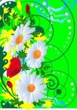 Bloemen op groene achtergrond Royalty-vrije Stock Foto's