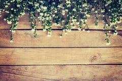 Bloemen op houten textuurachtergrond met copyspace stock foto's