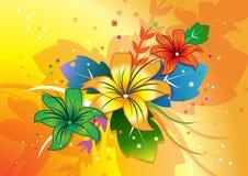 Bloemen op kleurrijke achtergrond Stock Afbeelding