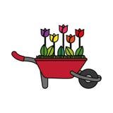 Bloemen op kruiwagen Stock Foto's