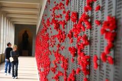 Bloemen op oorlogs herdenkingsmuur Stock Afbeeldingen