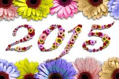 2015 bloemen op rame die van kleurrijk wordt gemaakt Stock Foto
