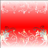 Bloemen op rode achtergrond Stock Afbeeldingen