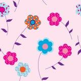 Bloemen op roze achtergrond met bladeren Royalty-vrije Stock Afbeeldingen