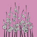 Bloemen op roze gekleurde achtergrond vector illustratie