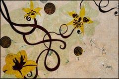 Bloemen op steen vector illustratie