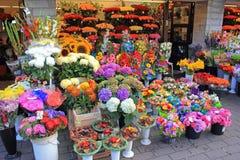 Bloemen op vertoning bij bloemwinkel Stock Afbeelding