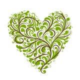 Bloemen ornament, hartvorm voor uw ontwerp Stock Afbeeldingen