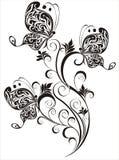 Bloemen ornament met vlinder Royalty-vrije Stock Afbeeldingen